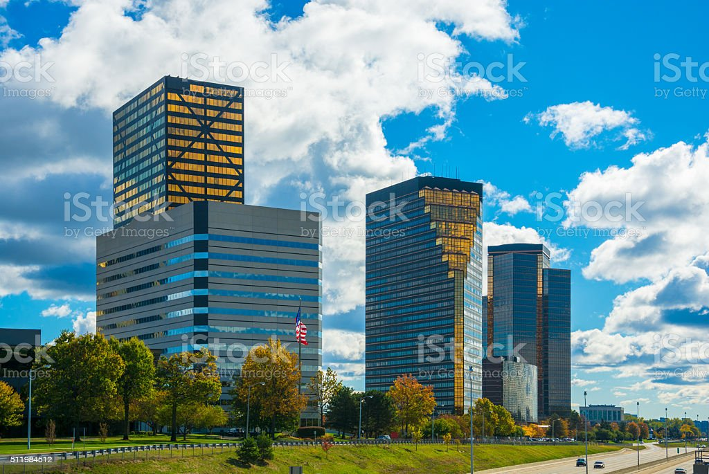 Southfield, Michigan business district skyline stock photo