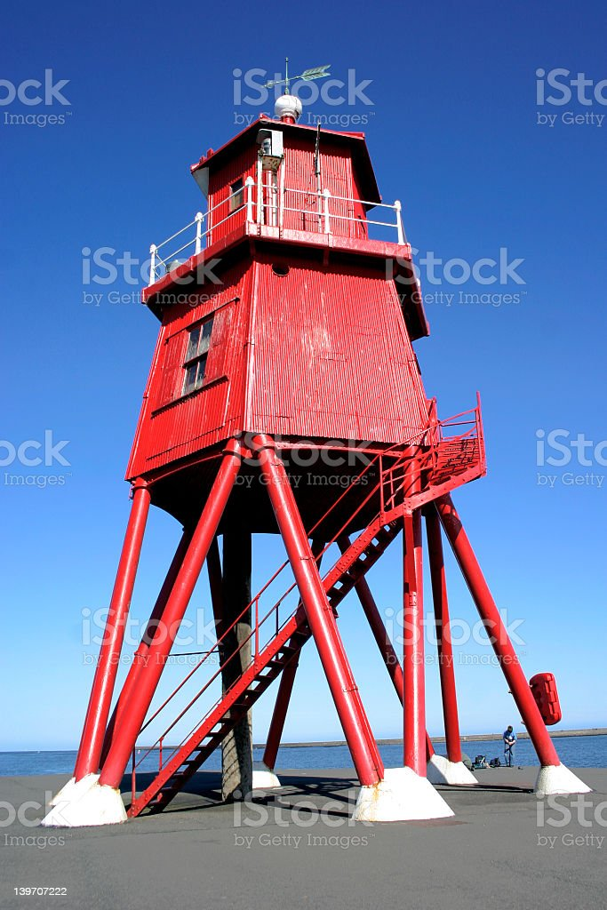 southsheilds coastal landmark of an old lighthouse stock photo