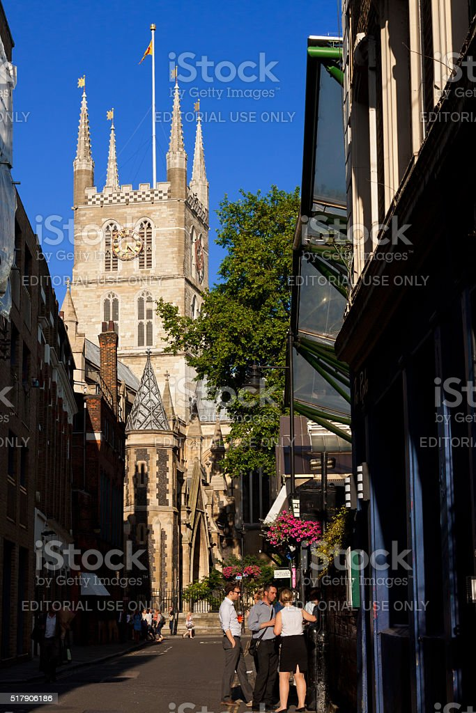 Southwark Cathedral and Street in London Bridge Quarter, London, England. stock photo