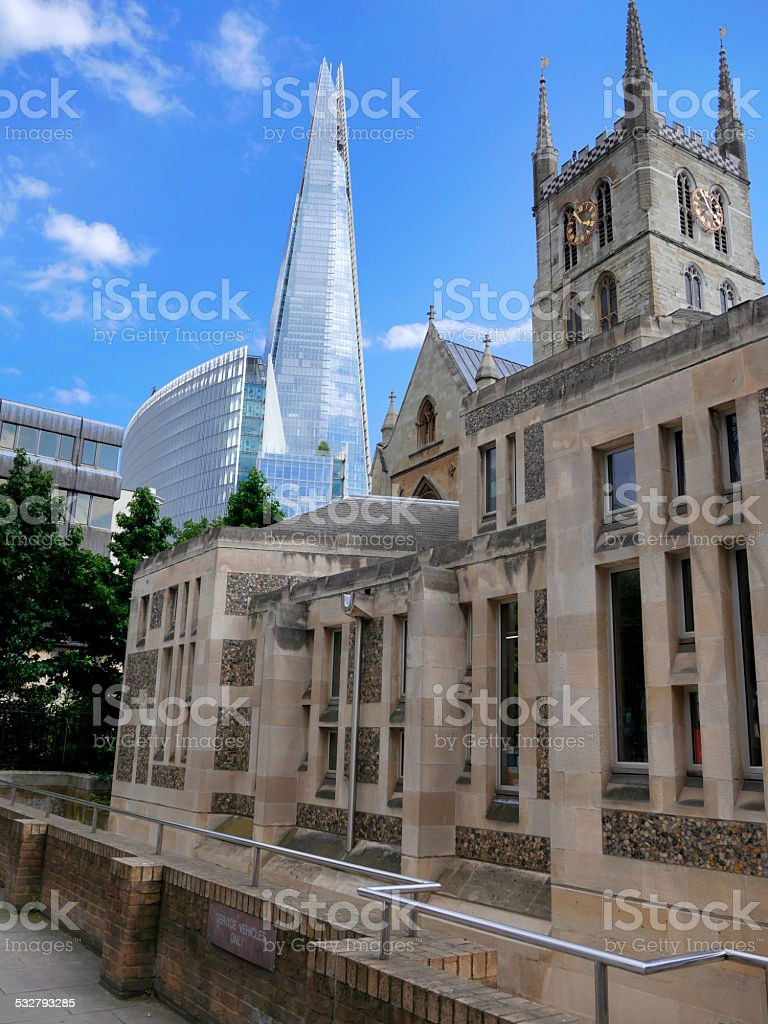 Southwark Cathedral and the Shard building London stock photo