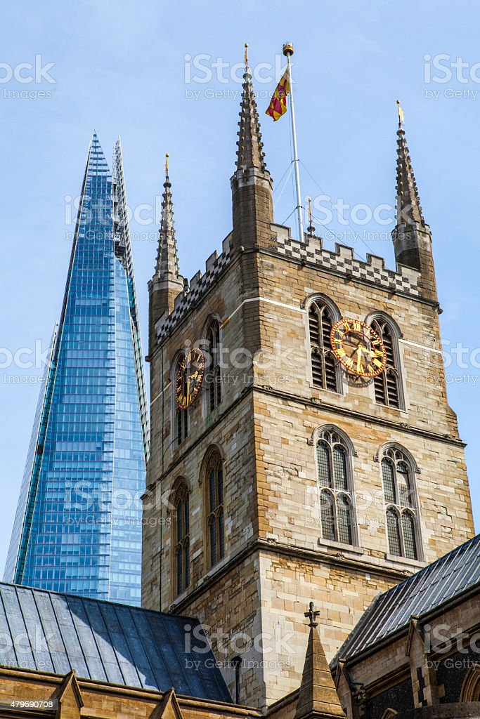 Southwark Cathedral and the Shard in London stock photo