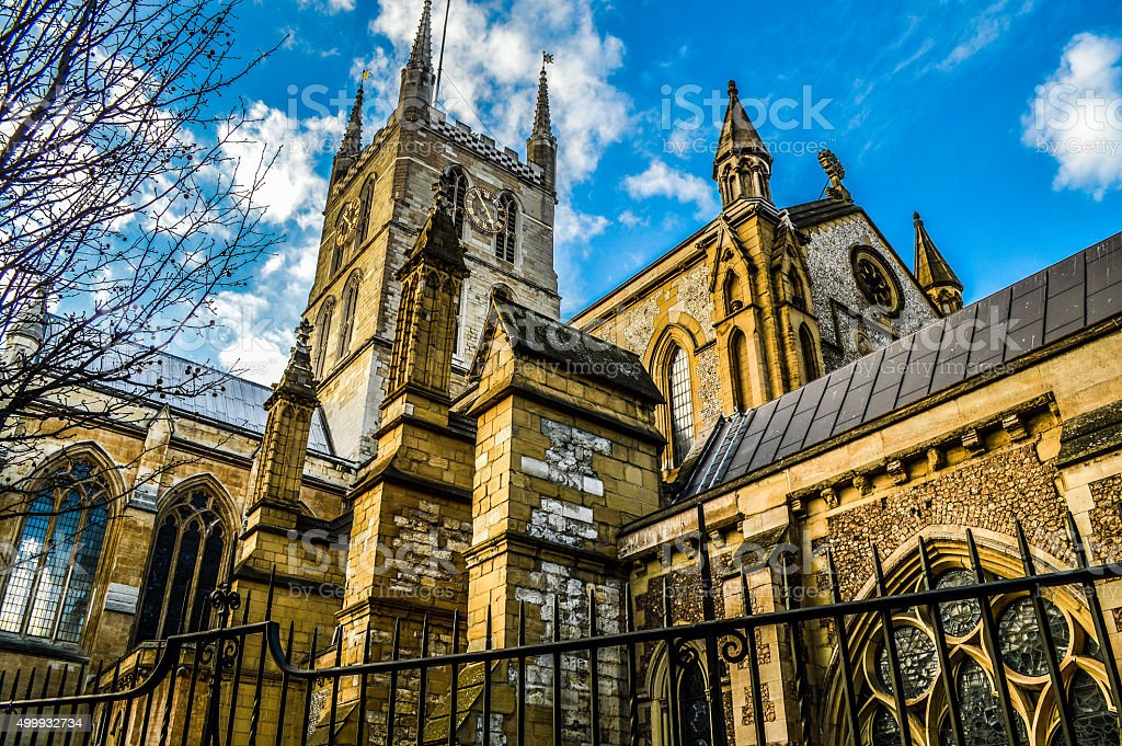 Southwark Cathedral Exterior - London, UK stock photo