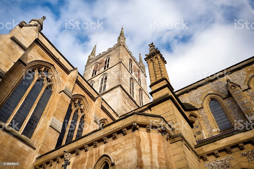 Southwark Cathedral from the churchyard stock photo