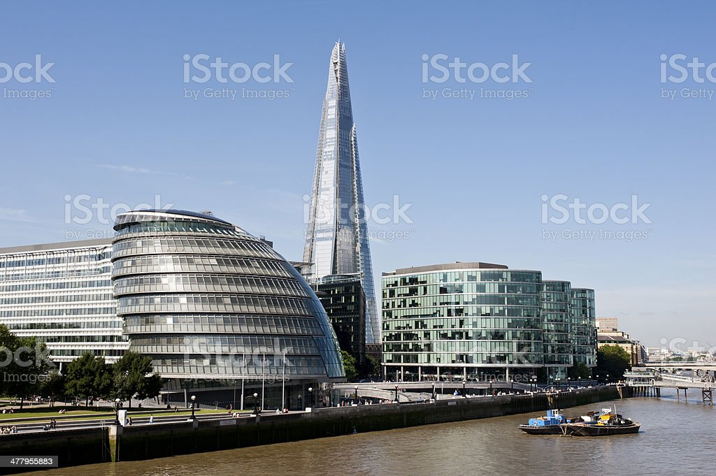 Southwark Skyline in London with the Shard and City Hall royalty-free stock photo