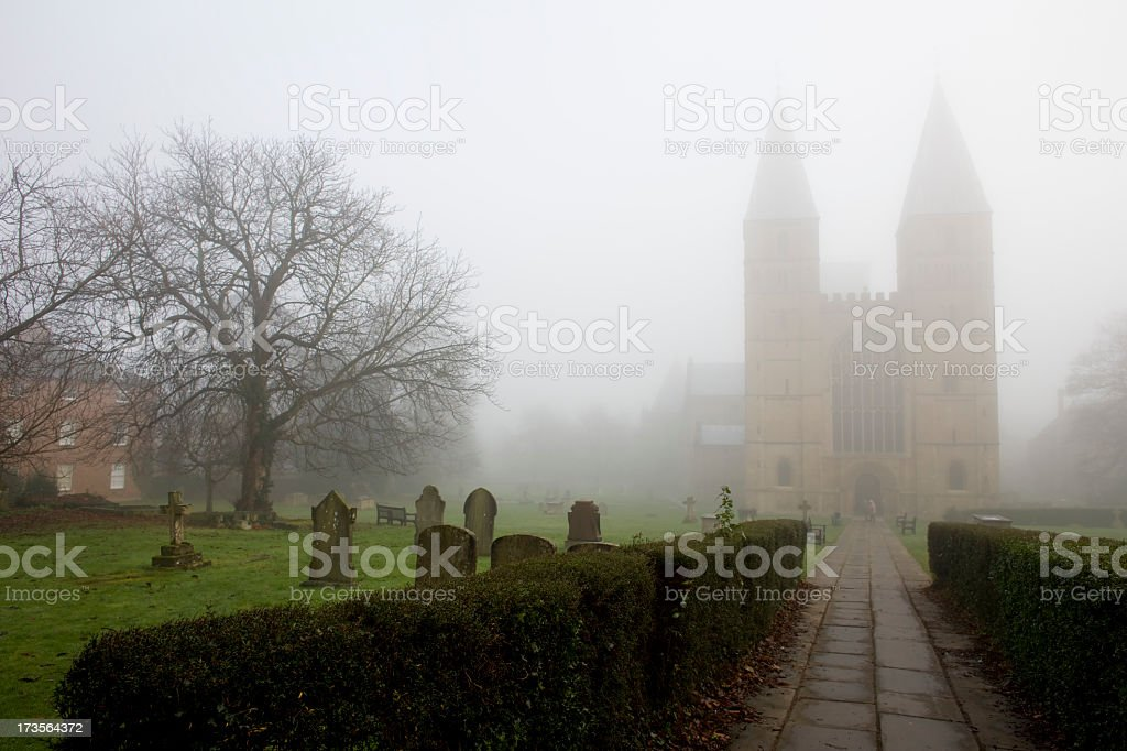 Southwell Minster Cathedral in the mist. royalty-free stock photo