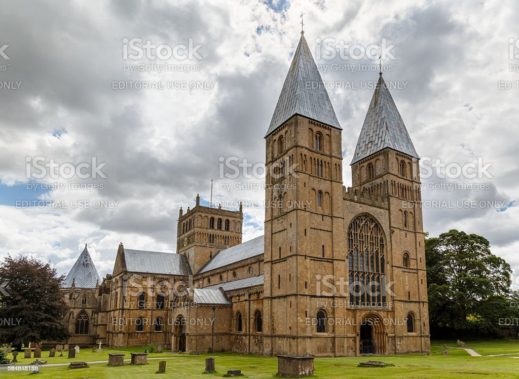 Southwell Minster showing the West side and North side stock photo