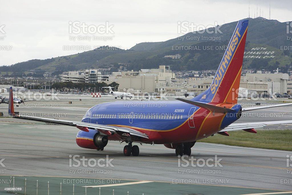 Southwest 737 prepares for Take Off royalty-free stock photo