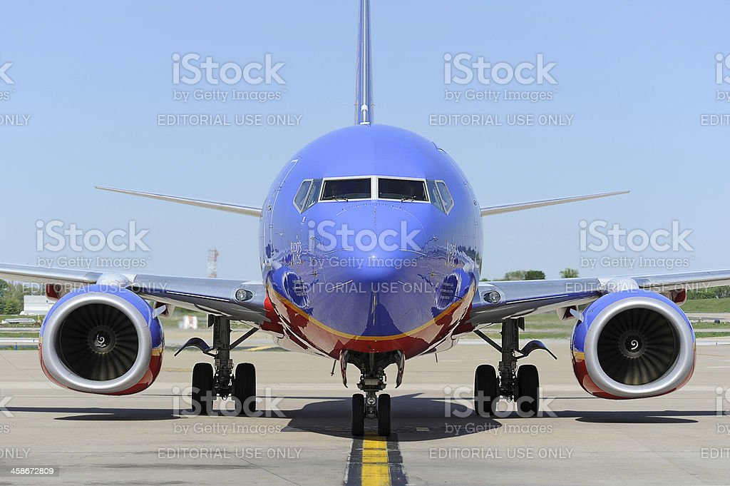 Southwest Airlines aircraft arriving at the gate stock photo