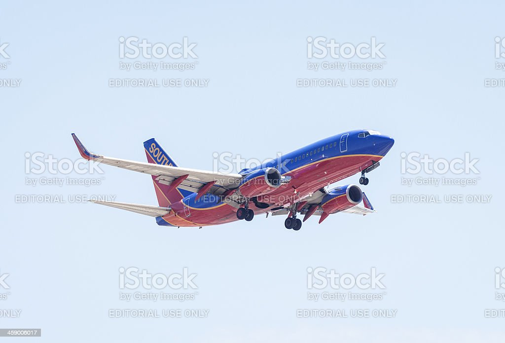 Southwest Airlines Boeing 737  jet taking off stock photo