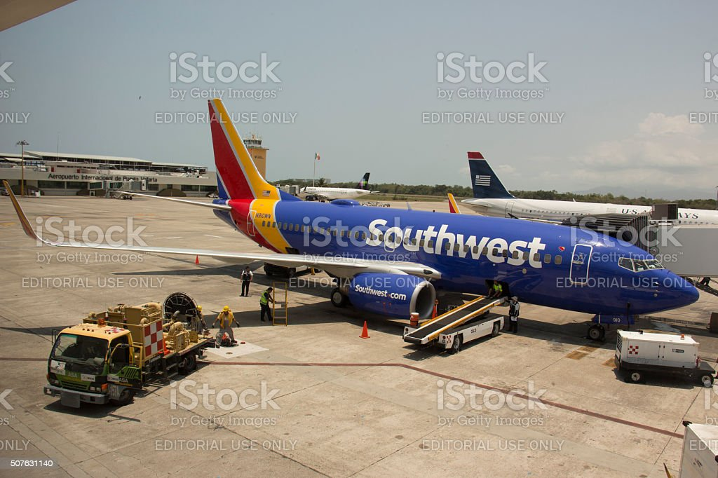 Southwest Airlines Boeing 737-700 in Puerto Vallarta, Mexico stock photo