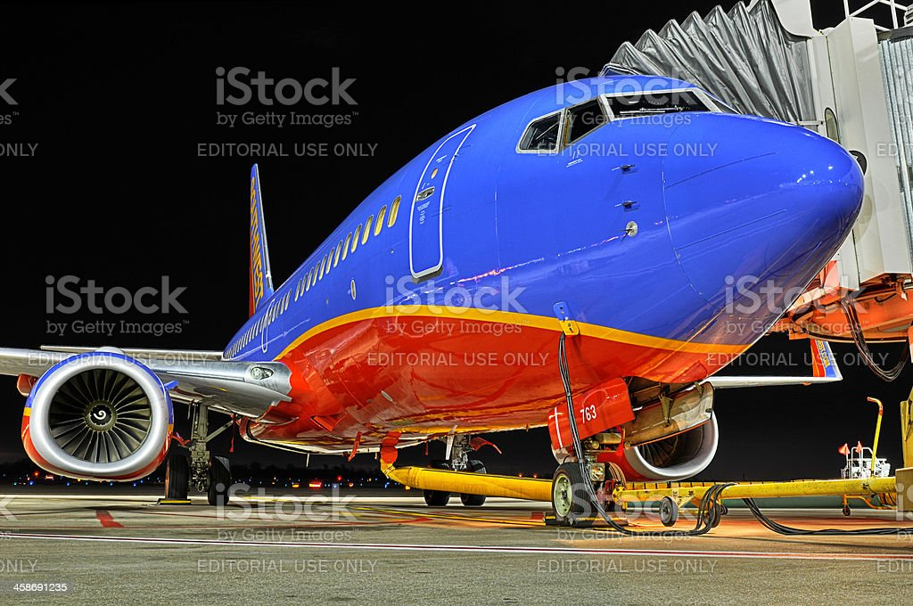 Southwest Airlines Plane at the departure gate royalty-free stock photo