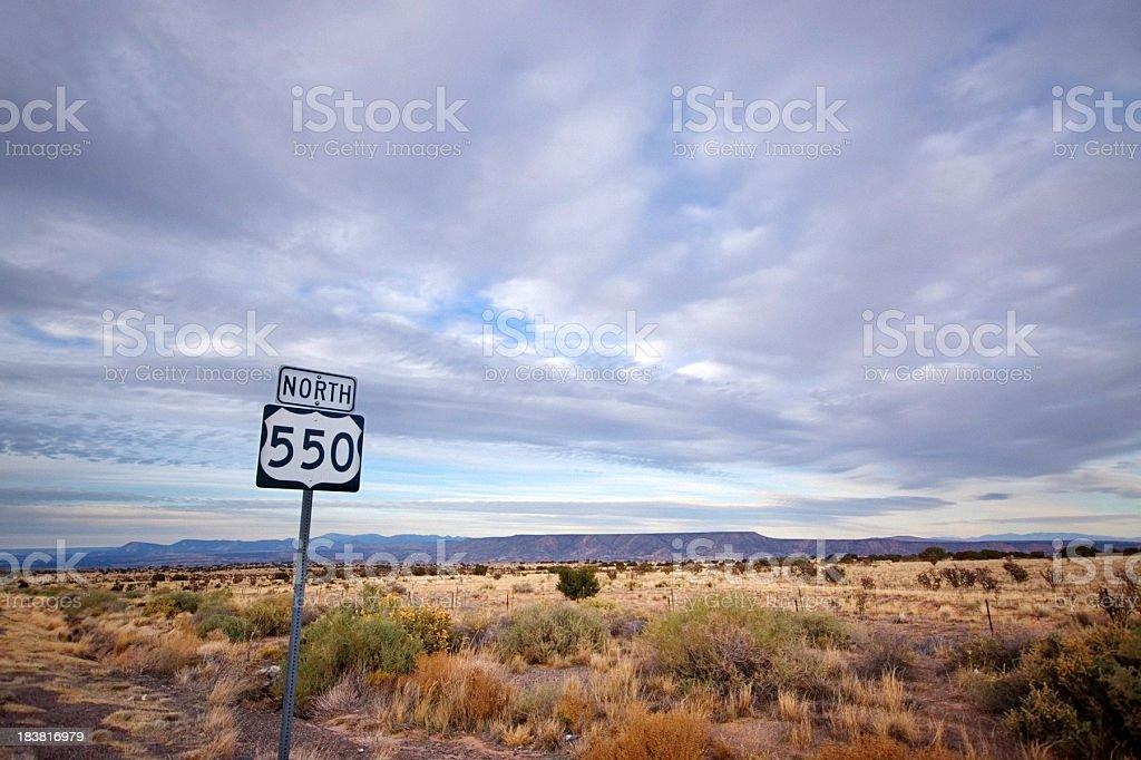 southwest landscape desert road sign stock photo