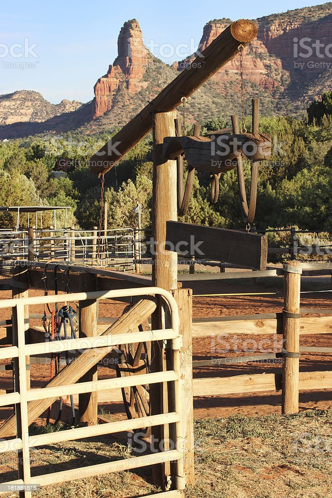Southwest Ranch Corral Fence Gate stock photo