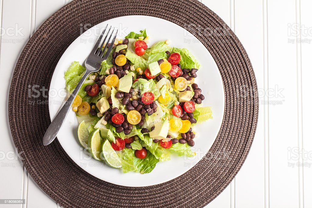 Southwest Salad on place mat top view stock photo