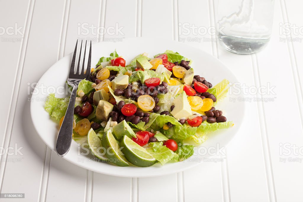 Southwest Salad with water stock photo