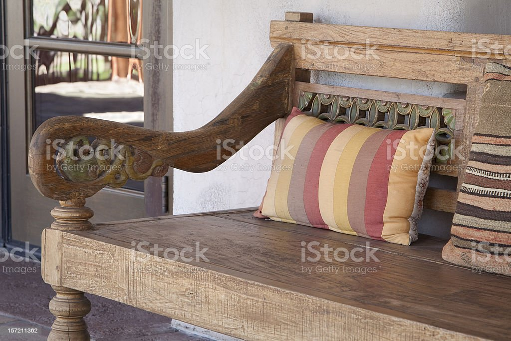 Southwest Style Bench on Patio royalty-free stock photo