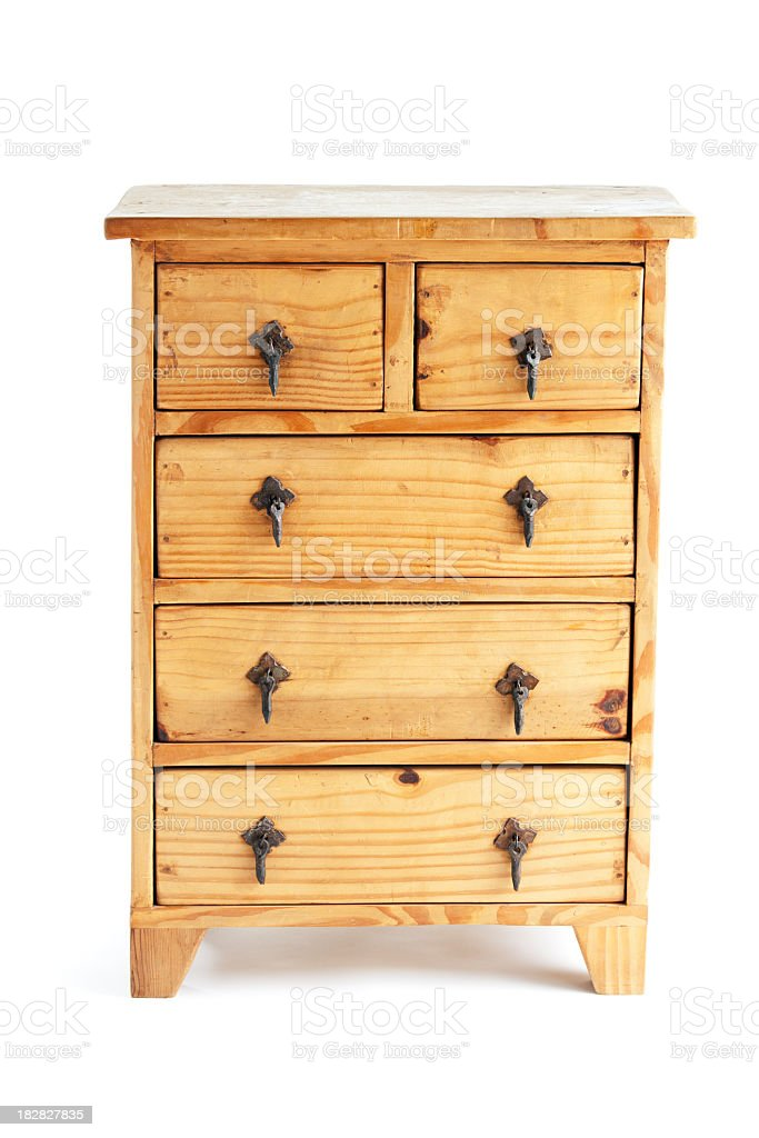 Southwest Style Pine Wood Chest of Drawers Front View Isolated stock photo