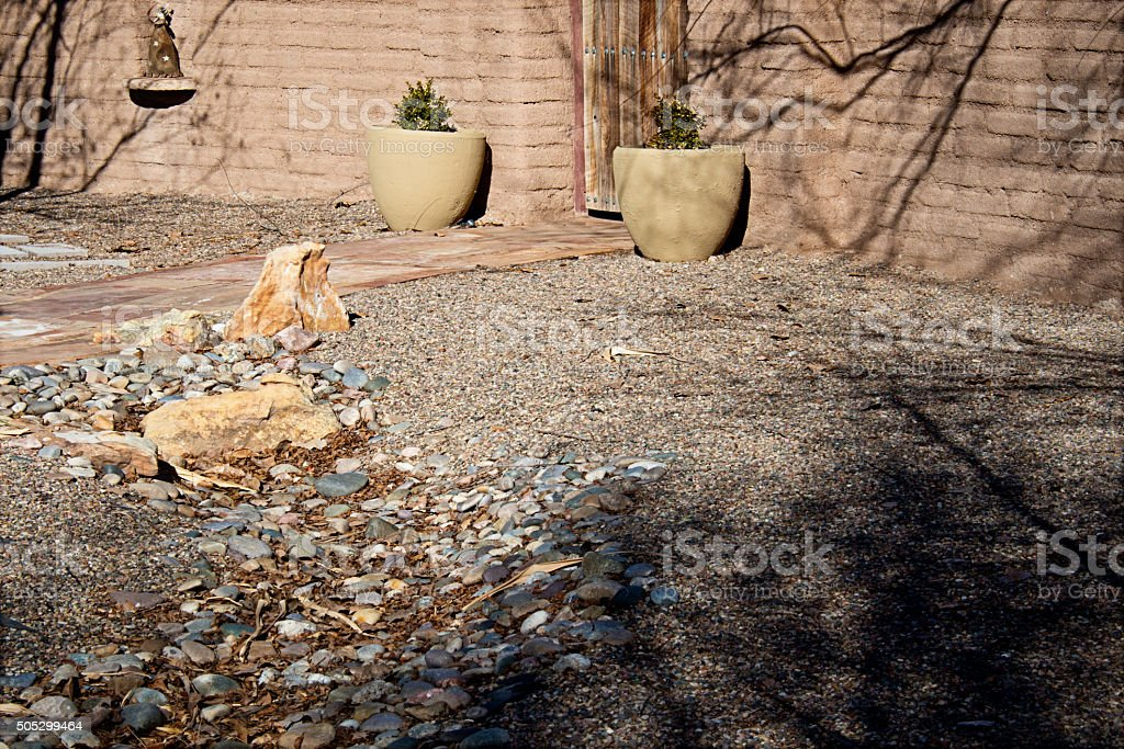 Southwest Xeriscape Entry and Adobe Wall, Full Frame Image stock photo