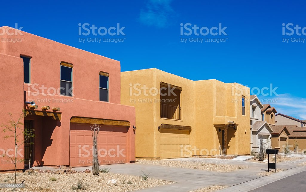 southwestern arizona adobe residential architecture new house construction, unsold homes stock photo