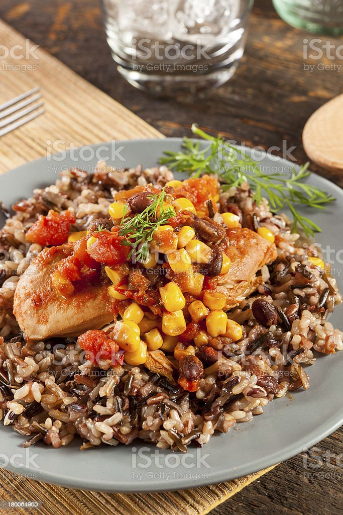 Southwestern Chicken with Rice and Corn stock photo