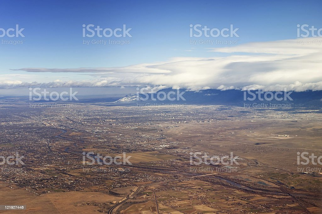 Southwestern Landscape with Sandia Mountains royalty-free stock photo