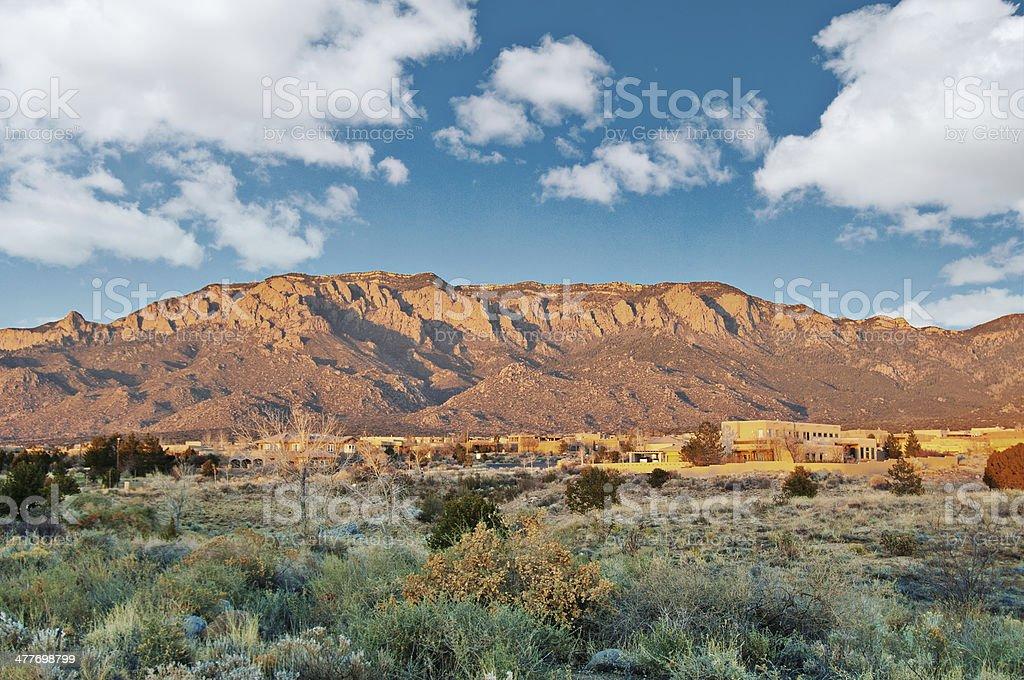 Southwestern Landscape with Sandia Mountains stock photo