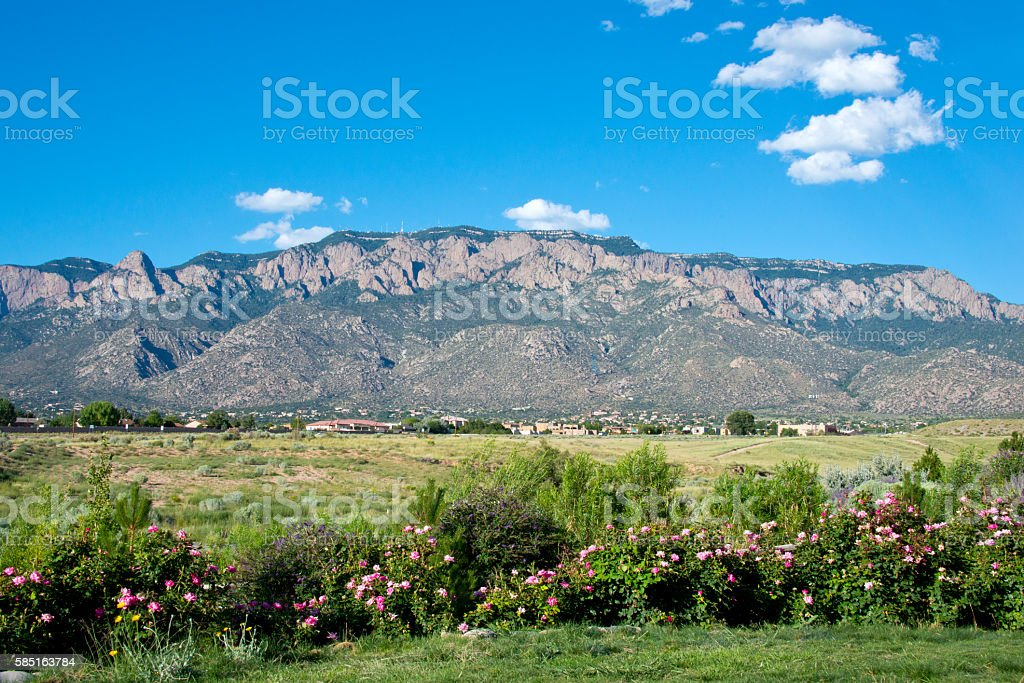 Southwestern Landscape with Sandia Mountains stock photo