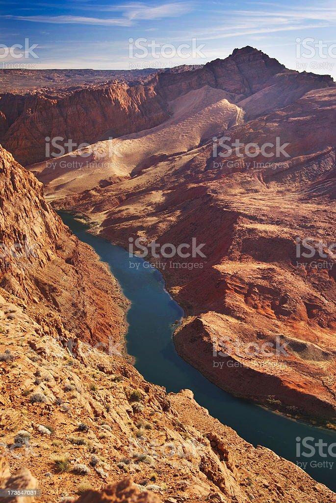 southwestern river landscape sunset stock photo