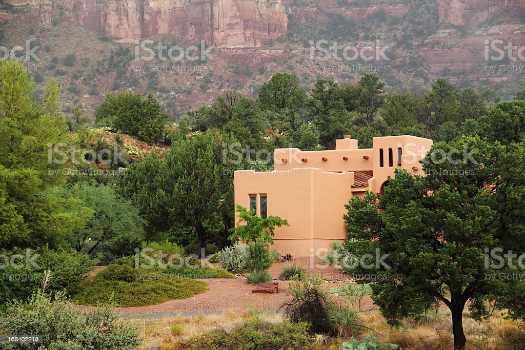 Southwestern Santa Fe Style House royalty-free stock photo