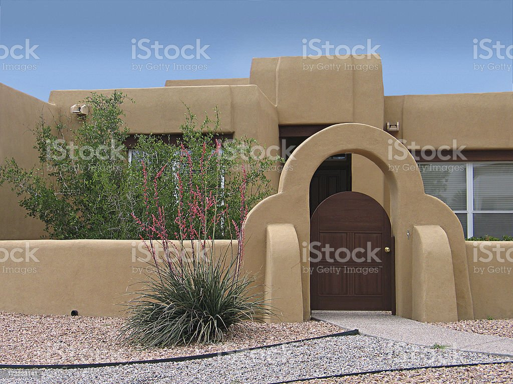 Southwestern Style Home & Gate royalty-free stock photo