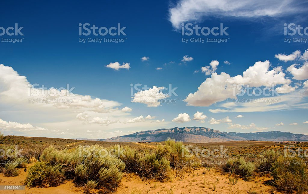 Southwestern Sunset Landscape with Sandia Mountains stock photo