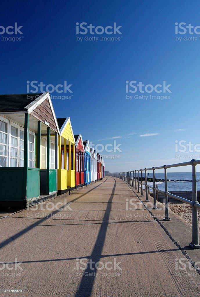 Southwold Beach Huts and Promenade royalty-free stock photo