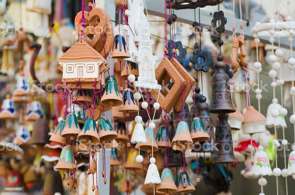 Souvenir bells at the market stock photo