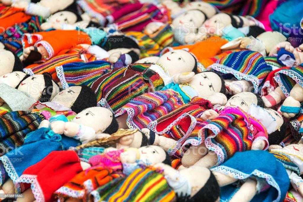 Souvenir Dolls in Otavalo stock photo