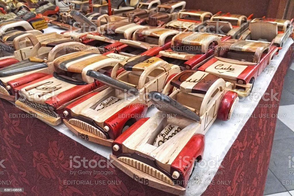Souvenir from Cuba - wooden American cars stock photo