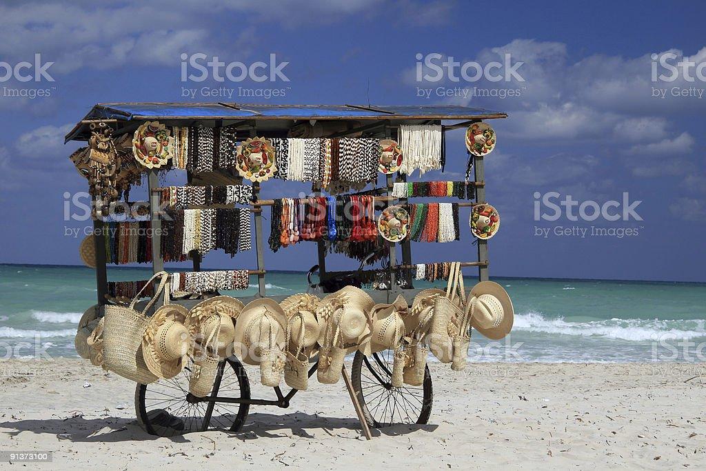 Souvenir kiosk on Varadero beach, Cuba stock photo