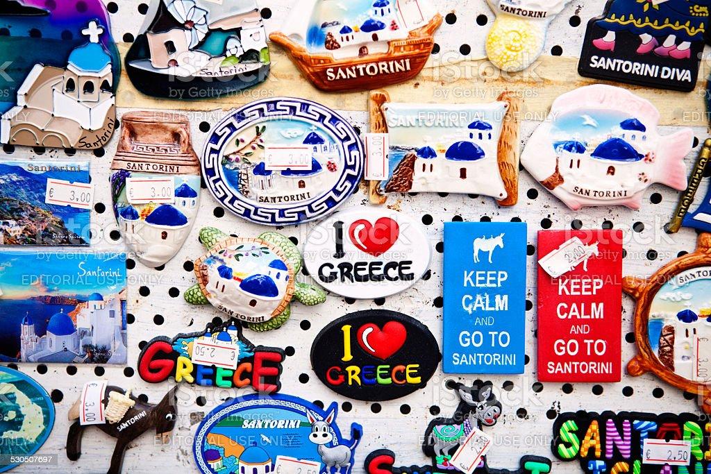Souvenir magnets at Santorini stock photo