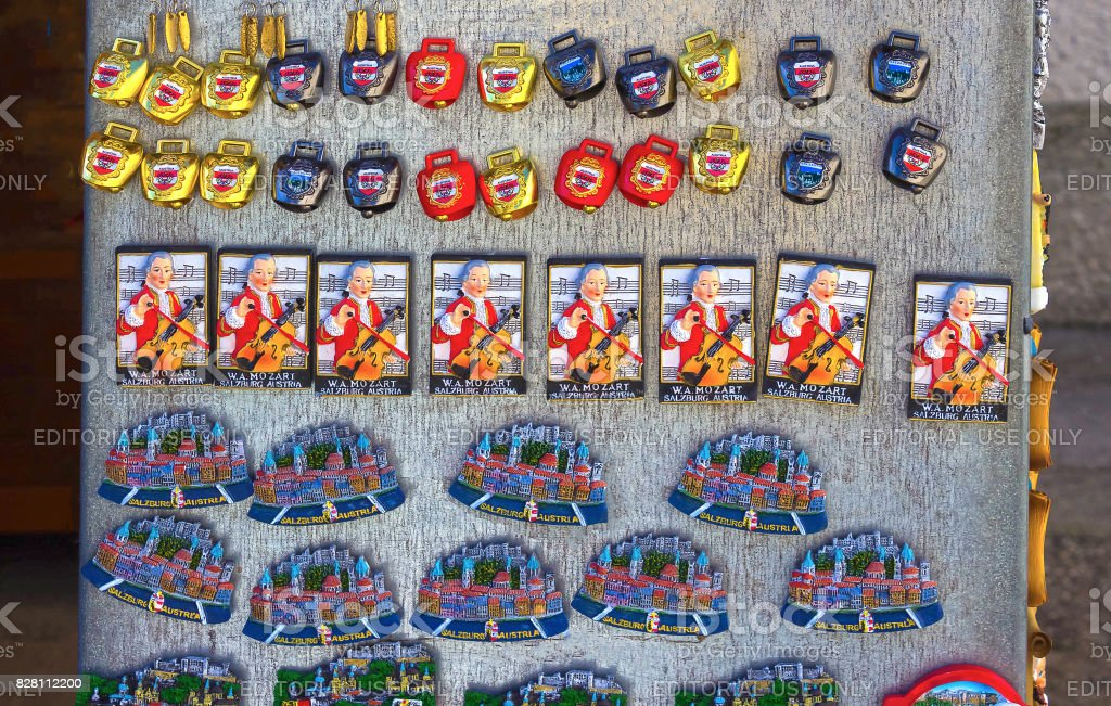 Salzburg, Austria - May 01, 2017: Souvenir magnets for sale in the old town of Salzburg, Austria. stock photo