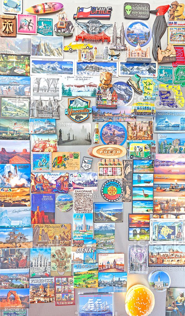 Souvenir magnets from all over the world. stock photo