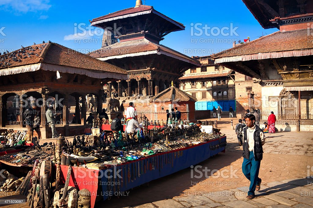 Souvenir market in Swayambhunath royalty-free stock photo