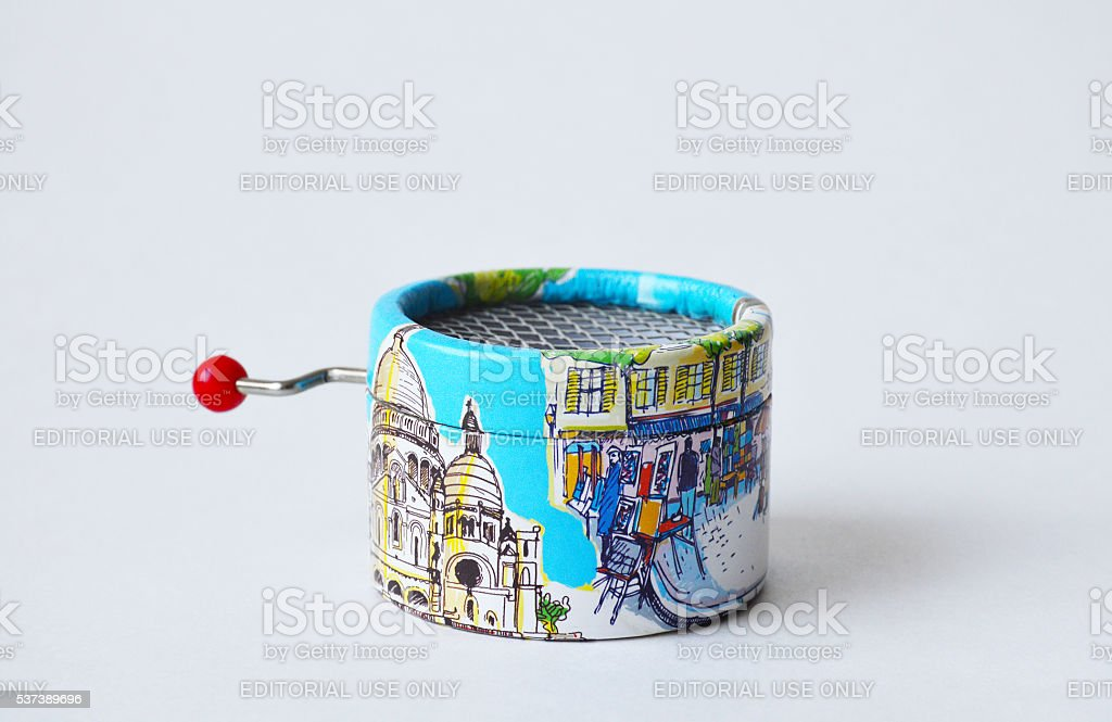 Souvenir musical-box with views of Paris on its sides stock photo