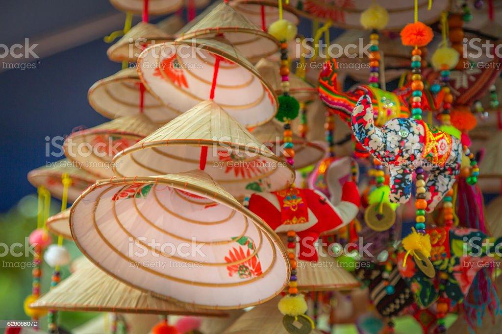 Souvenir of Vietnam, miniature conical hats stock photo