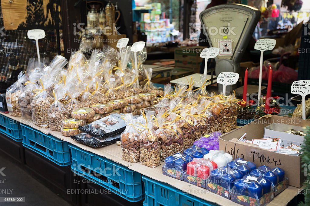 Souvenir shop at famous Havels Market in Prague stock photo