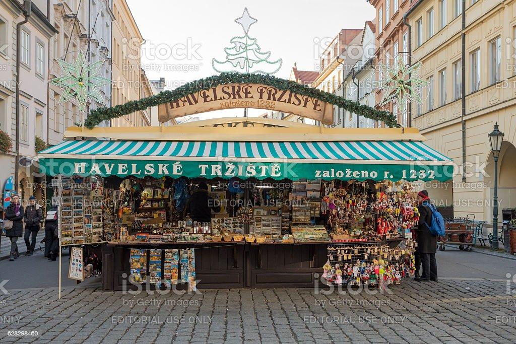 Souvenir shop at Havels Market in in Prague stock photo
