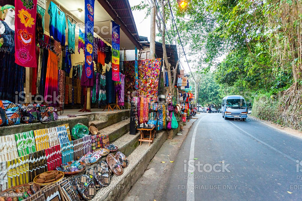 Souvenir shop by the road in Bali, Indonesia stock photo