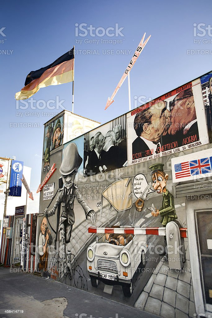 Souvenir shop in Berlin Wall stock photo