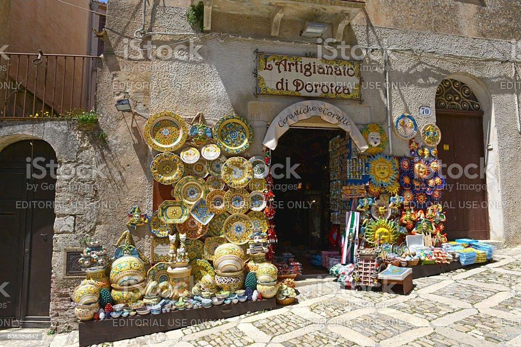 Souvenir shop in Erice Sicily stock photo