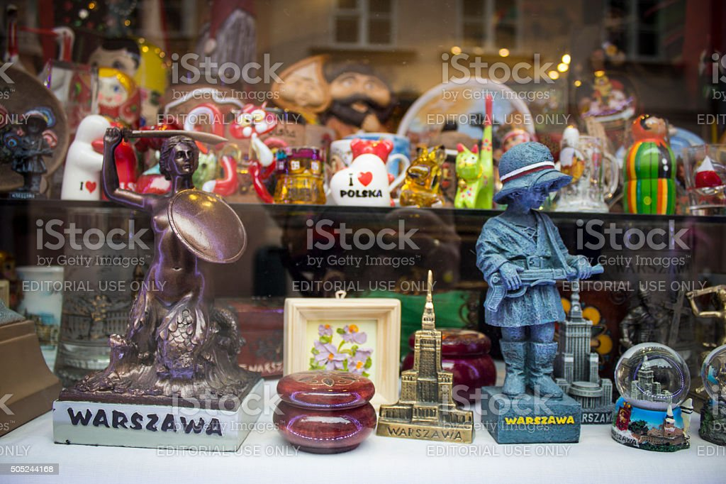 souvenir shop in Stary Rynek, Old Town Market Place in Warsaw, stock photo