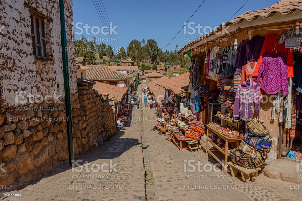 Souvenir shops along street at Chinchero, Peru stock photo