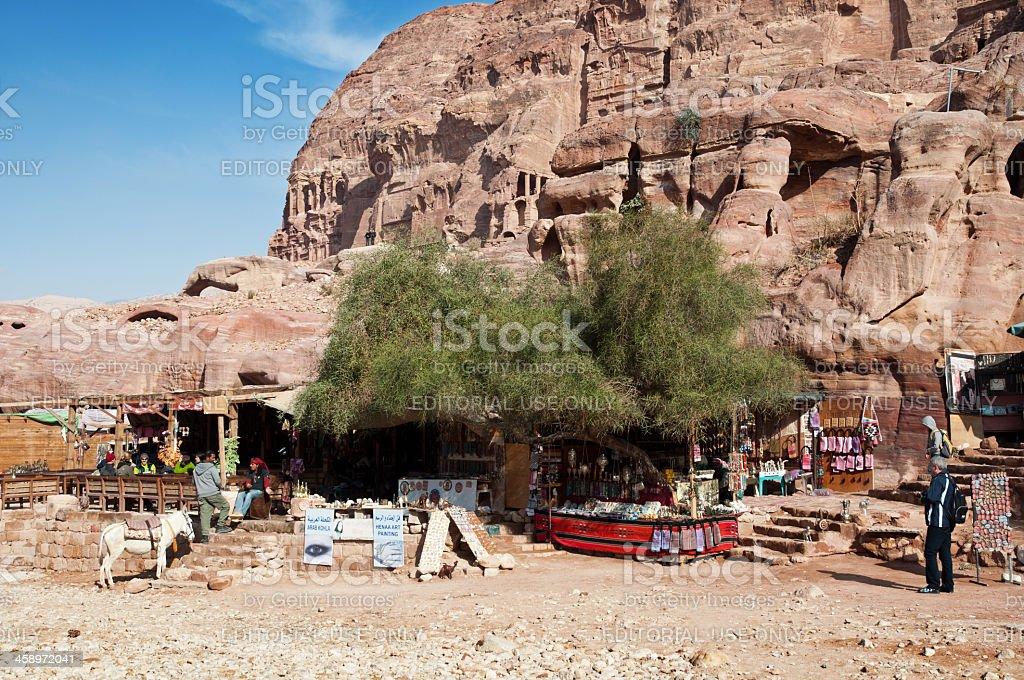 Souvenir shops in Petra royalty-free stock photo